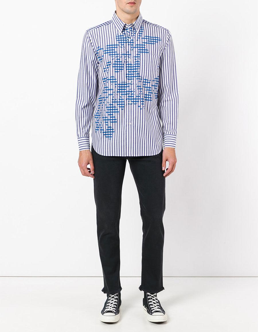 GANRYU COMME DES GARÇONS Striped floral shirt