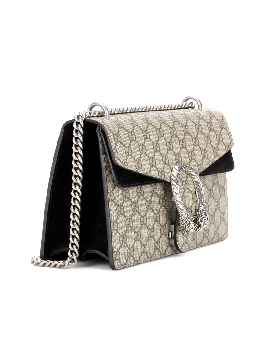 4825f5c08bbb GUCCI Dionysus GG Supreme Small coated canvas and suede shoulder bag ...