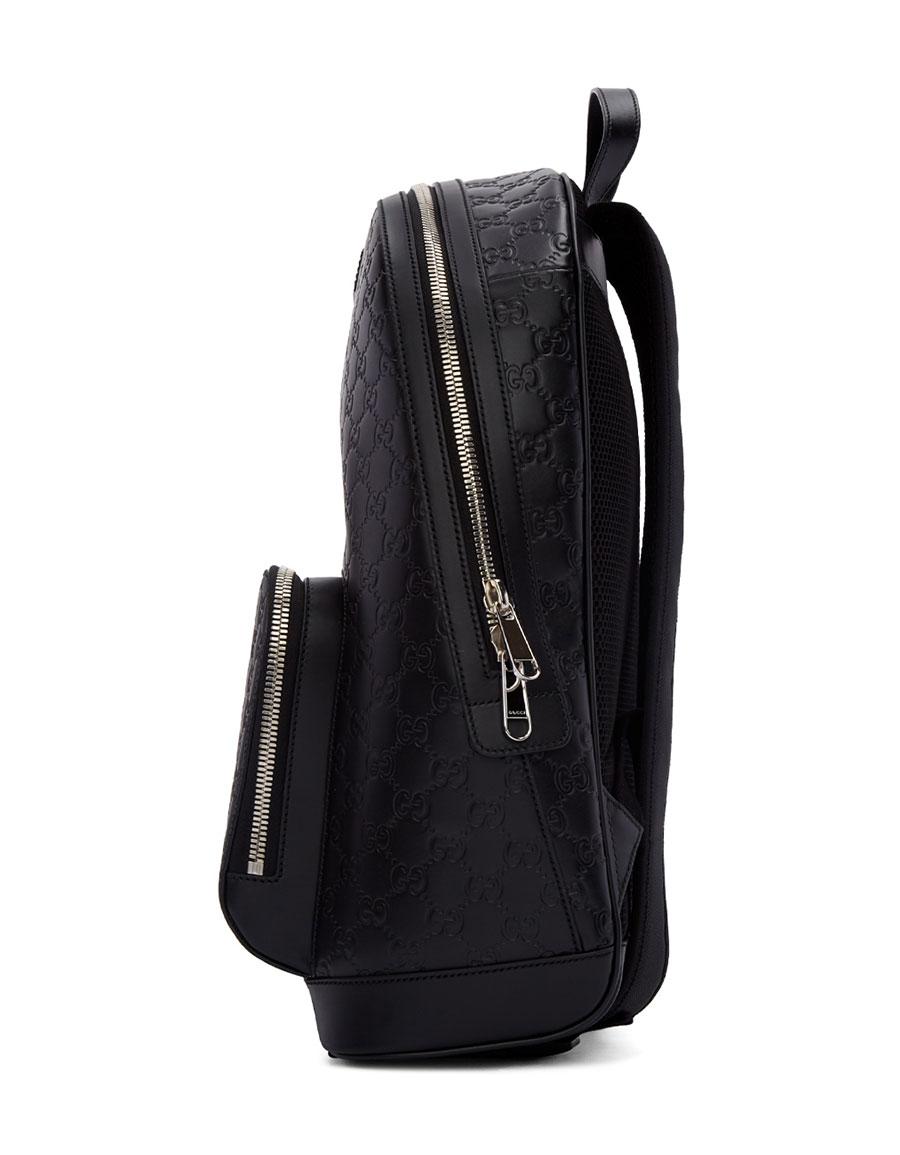 Gucci Black Leather Signature Backpack · VERGLE 2a3215eddf680