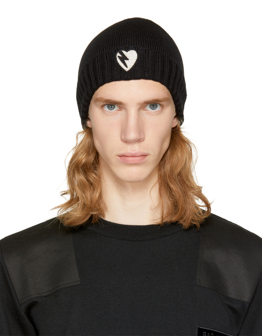 SAINT LAURENT Black Heart Beanie · VERGLE 0bfa8426884