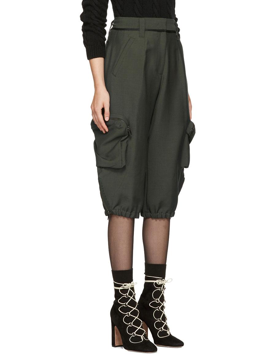FENDI Green Mohair Cargo Pants