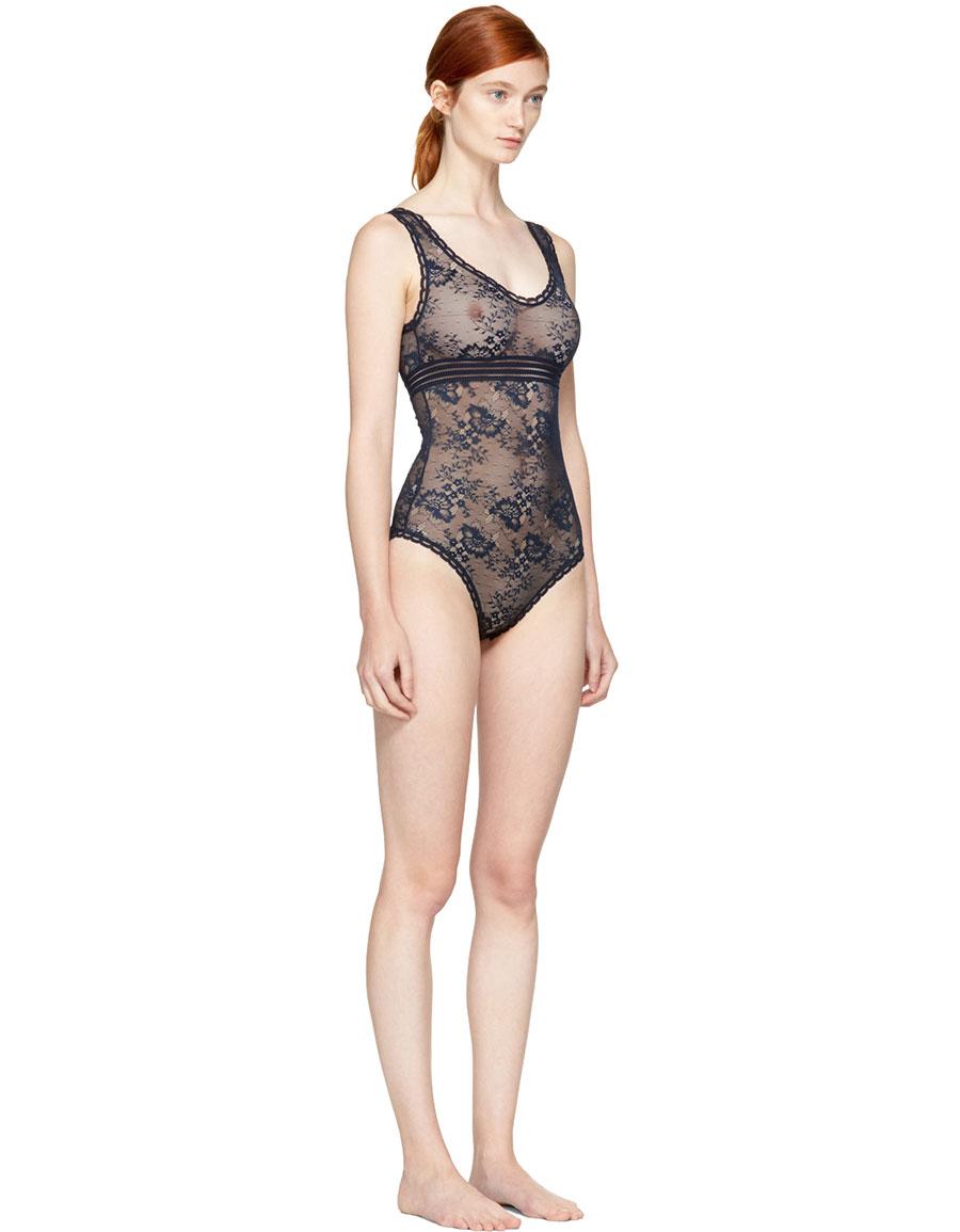 STELLA MCCARTENY Navy Stella Soft Lace Bodysuit
