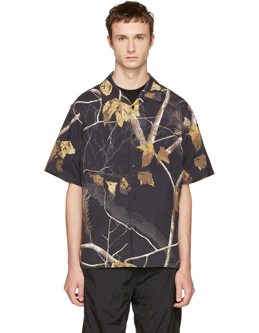 73d6ea875 ALEXANDER WANG Black Winter Camo Hawaiian Shirt · VERGLE