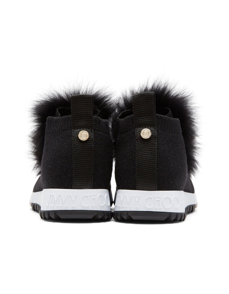 JIMMY CHOO Black Norway Pom Pom Sneakers
