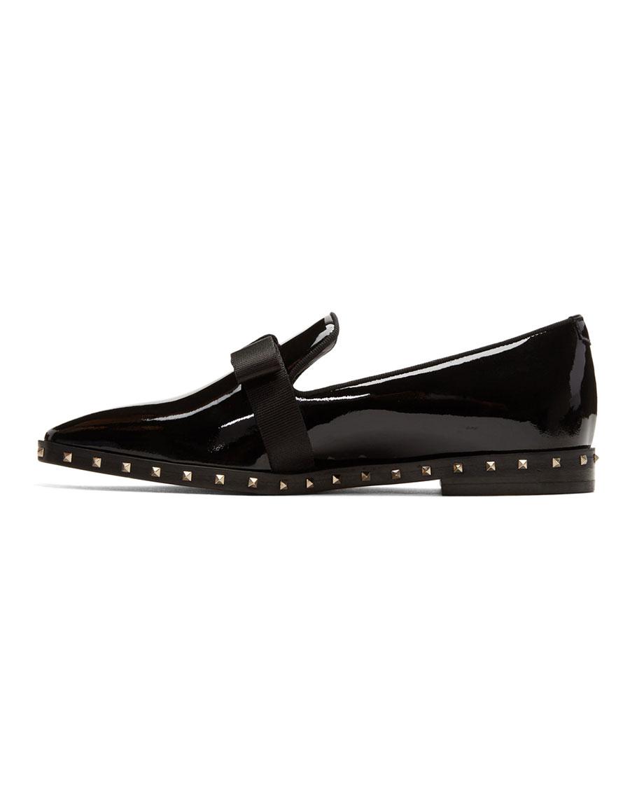 VALENTINO Black Patent Rockstud Loafers