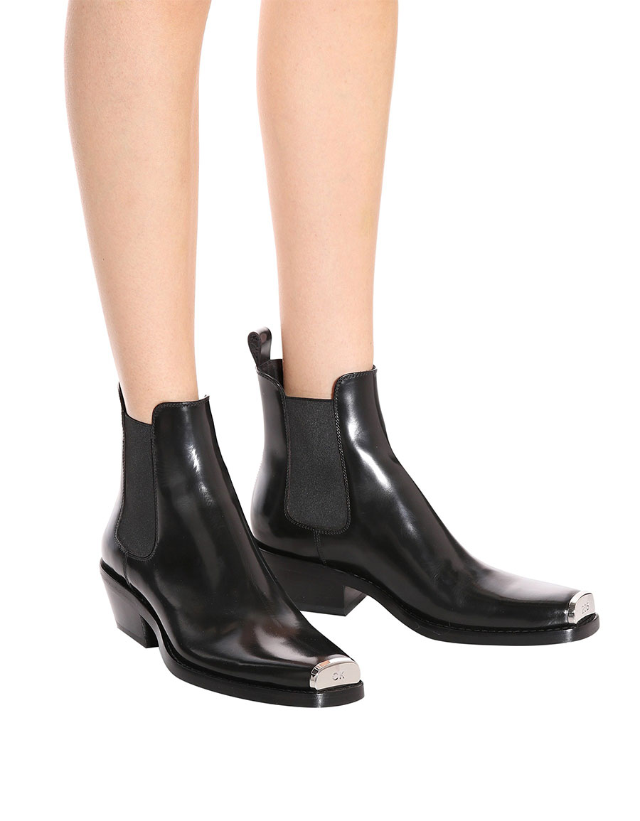 1314749977d CALVIN KLEIN Western Claire leather ankle boots · VERGLE