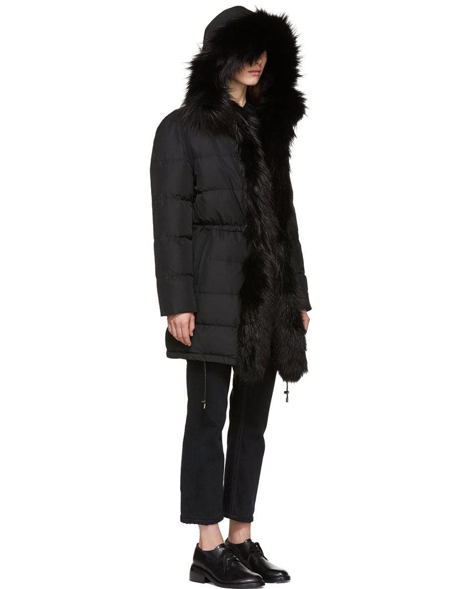 YVES SALOMON Black Down & Fur Puffer Coat