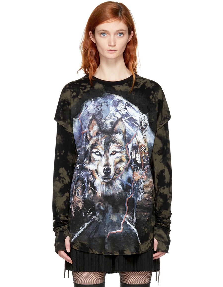 BALMAIN Brown & Black Layered Wolf T Shirt
