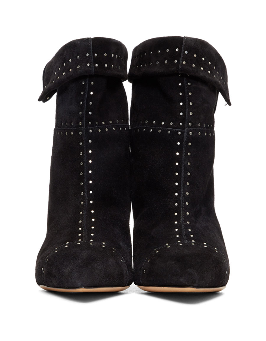ISABEL MARANT Black Suede Lizynn Studded Boots