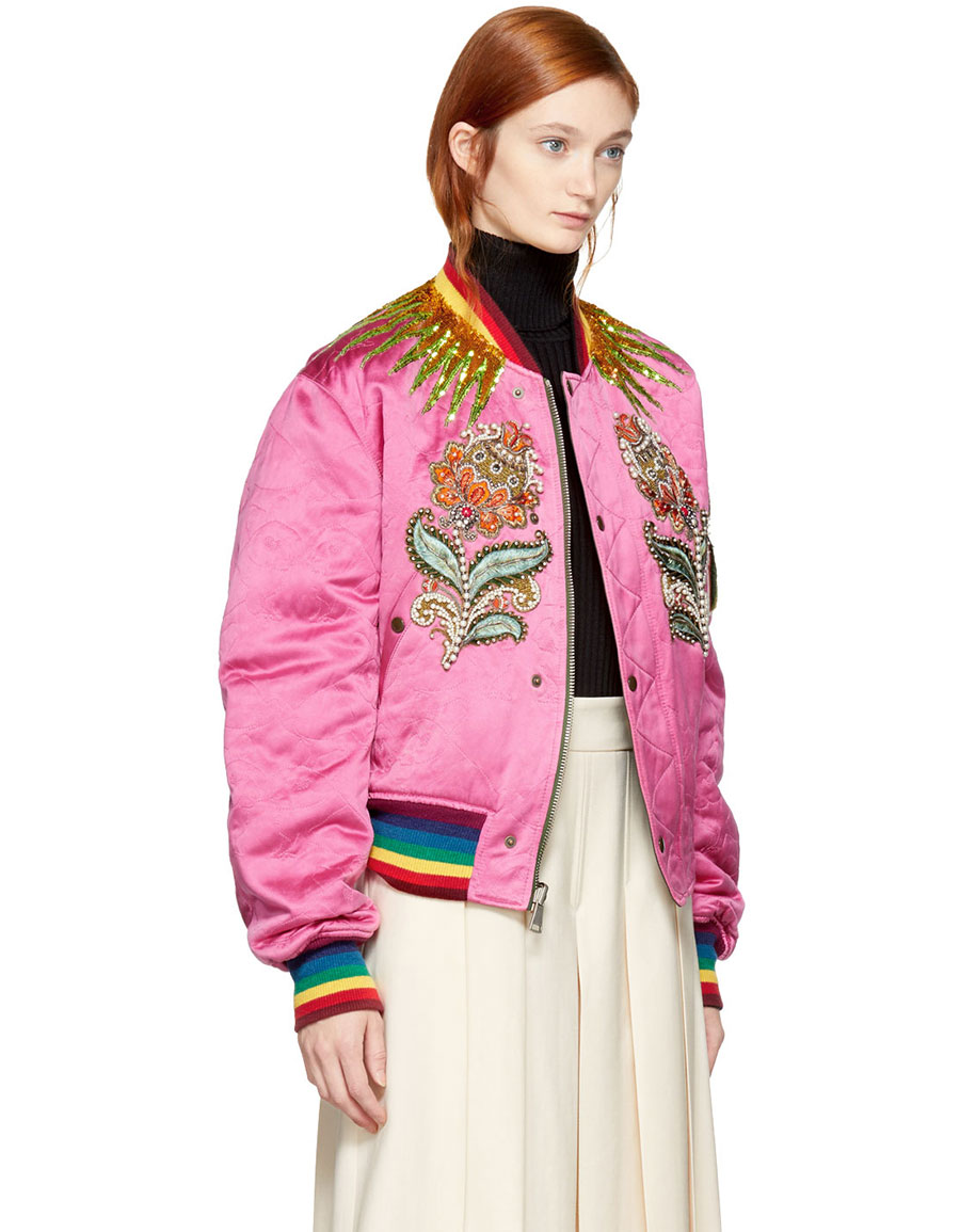 d2e4c1d86 GUCCI Reversible Pink & Green Quilted Tiger Bomber Jacket · VERGLE
