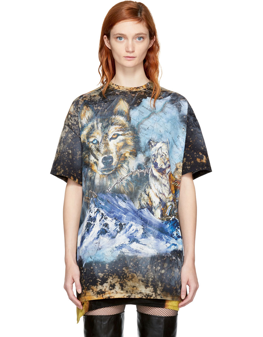 BALMAIN Brown Distressed Wolf T Shirt