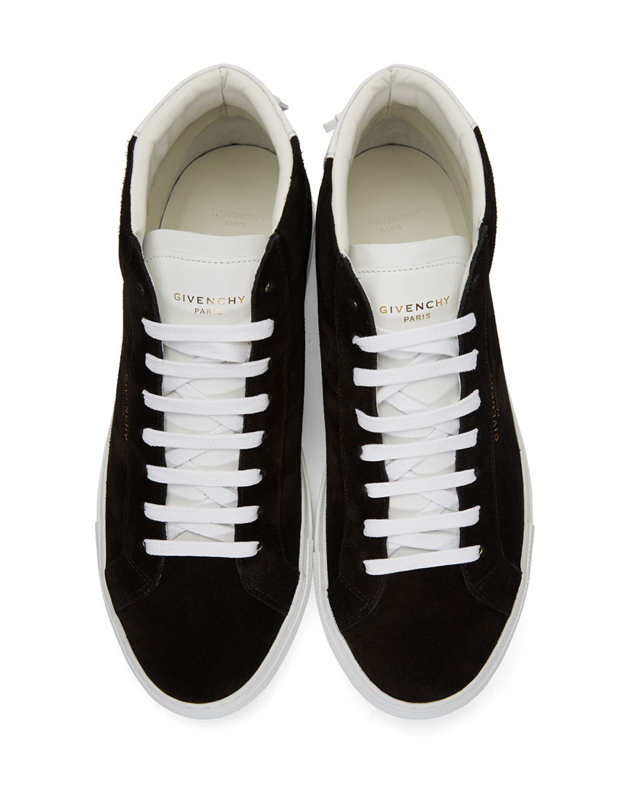 GIVENCHY Black & White Suede Urban Knots Mid Top Sneakers