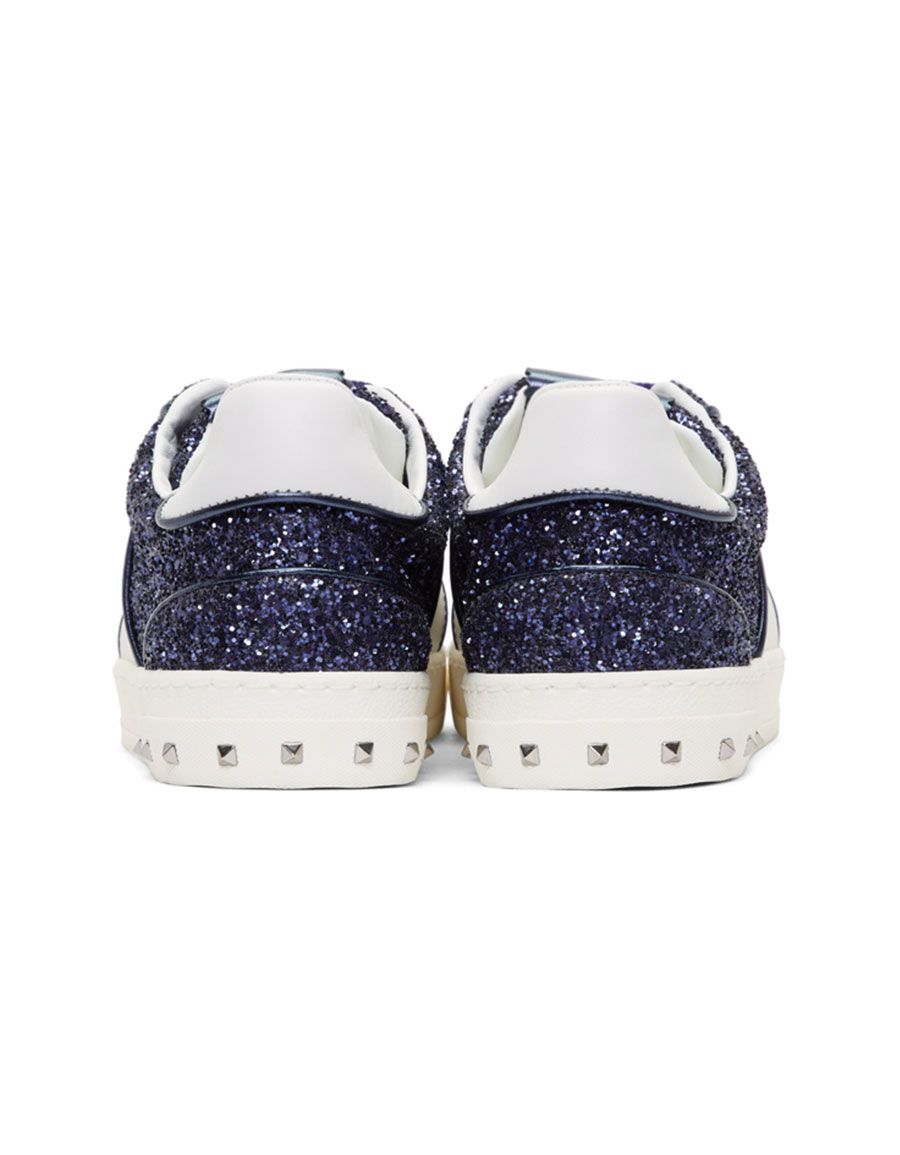 VALENTINO Blue & White Valentino Garavani Glitter Flycrew Rockstud Sneakers