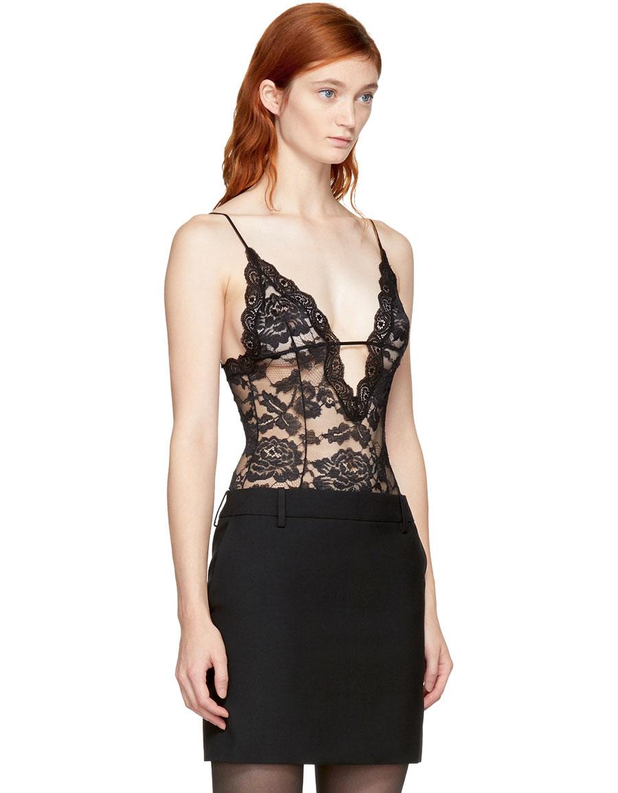 SAINT LAURENT Black Lace Bodysuit