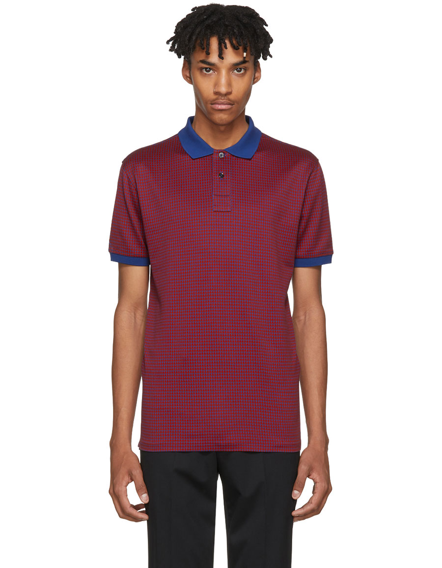 PAUL SMITH Navy & Red Checkered Regular Fit Polo