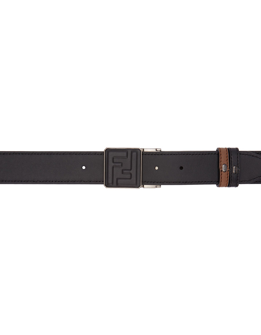 FENDI Reversible Brown & Black Signature Belt