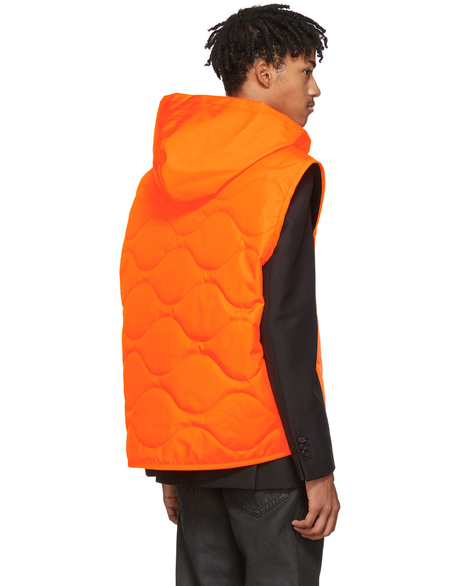 HELMUT LANG Orange Quilted NY Vest