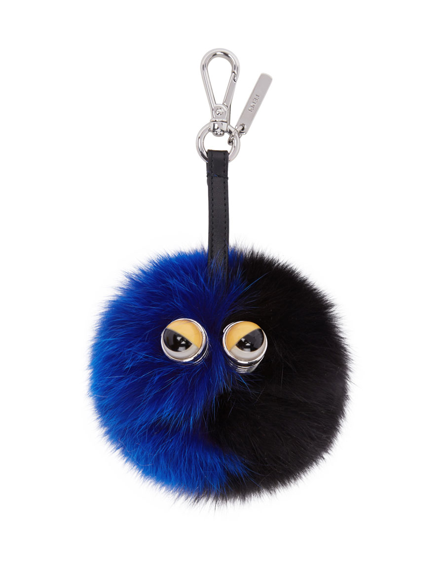 FENDI Black   Blue Fur Pom Pom Keychain · VERGLE 3592d44fc727