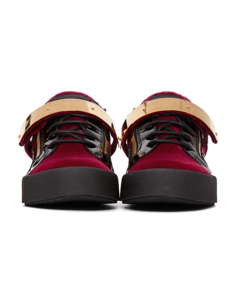 GIUSEPPE ZANOTTI Red & Black Velvet May London Sneakers
