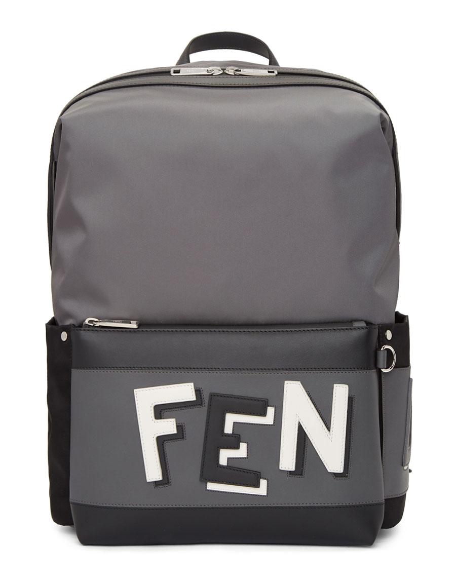 FENDI Grey & Black Nylon Backpack
