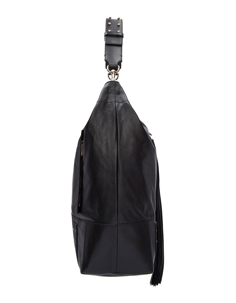BALMAIN Black Leather Domaine Besace Tote