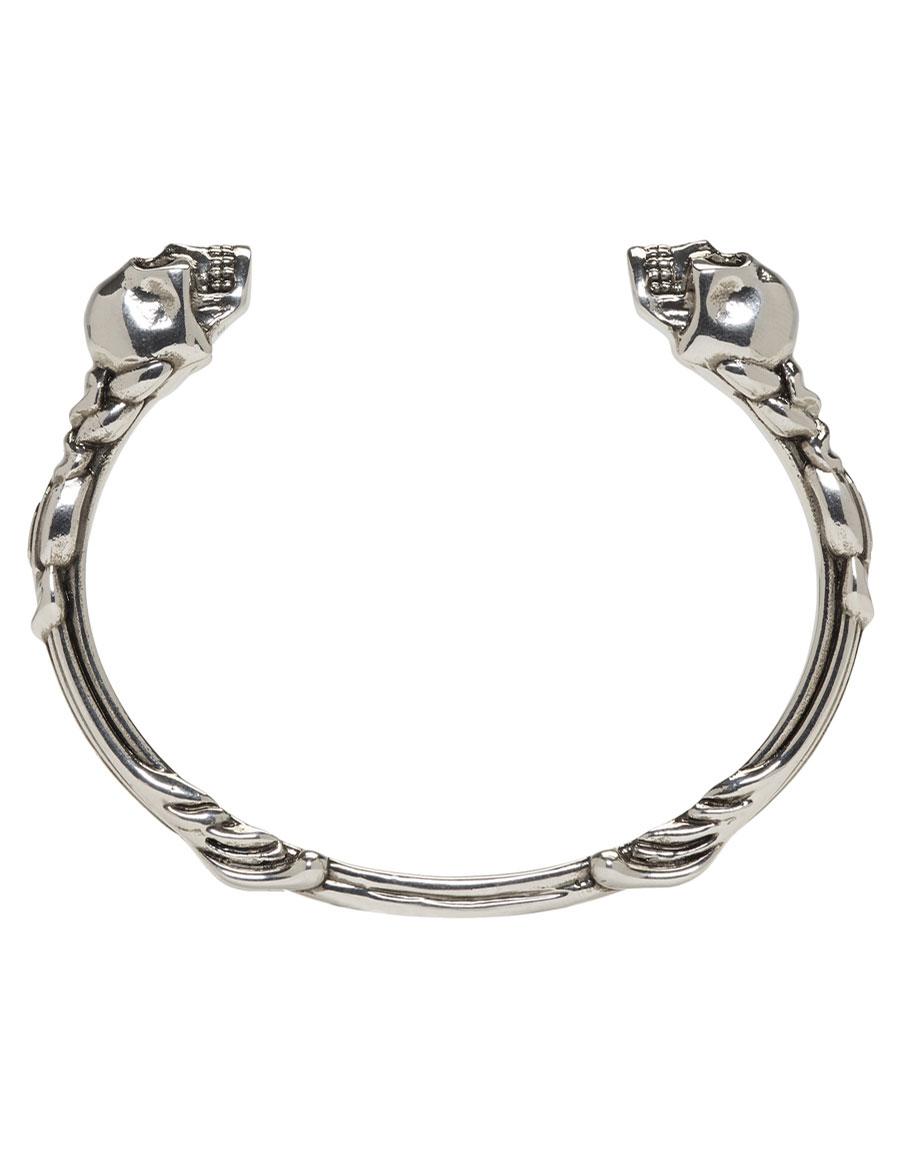 ALEXANDER MCQUEEN Silver Textured Twin Skull Bracelet