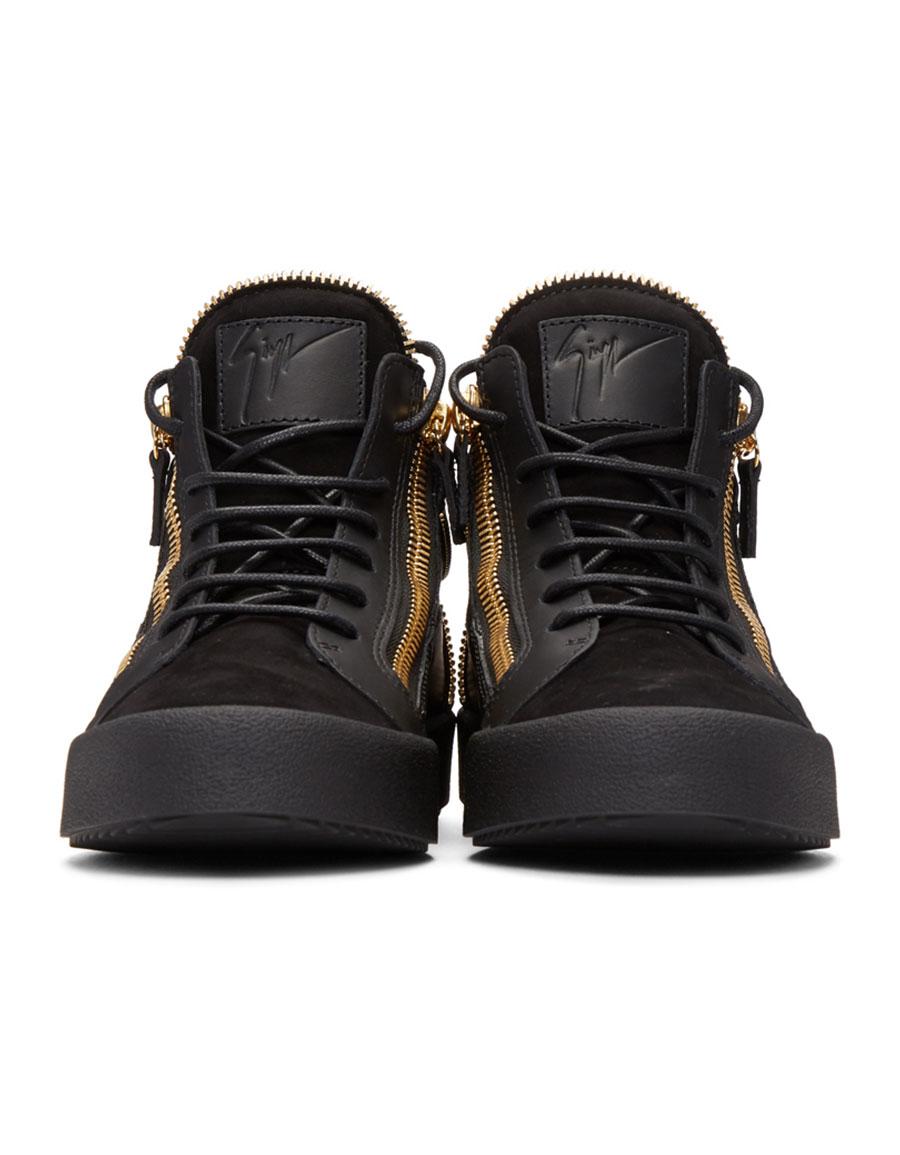 GIUSEPPE ZANOTTI Black Zipper May London High Top Sneakers