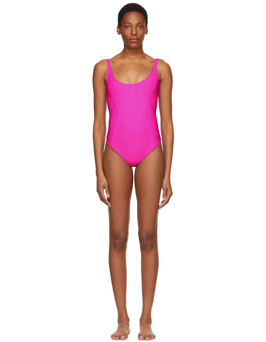 FLEUR DU MAL Pink Scoop Neck Swimsuit