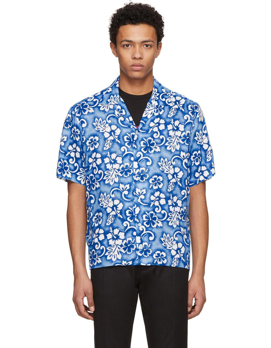 3c63f037b9 DSQUARED2 Blue Short Sleeve Ibisco Hawaiian Shirt · VERGLE