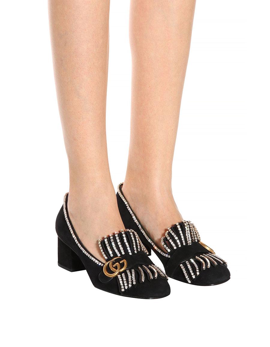dd2fd4701 GUCCI Embellished suede loafer pumps · VERGLE