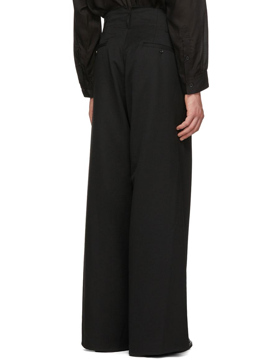 SULVAM Black High Waisted Baggy Trousers