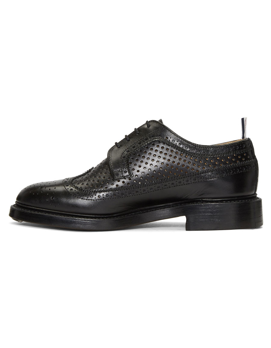 THOM BROWNE Black Perforated Classic Longwing Brogues