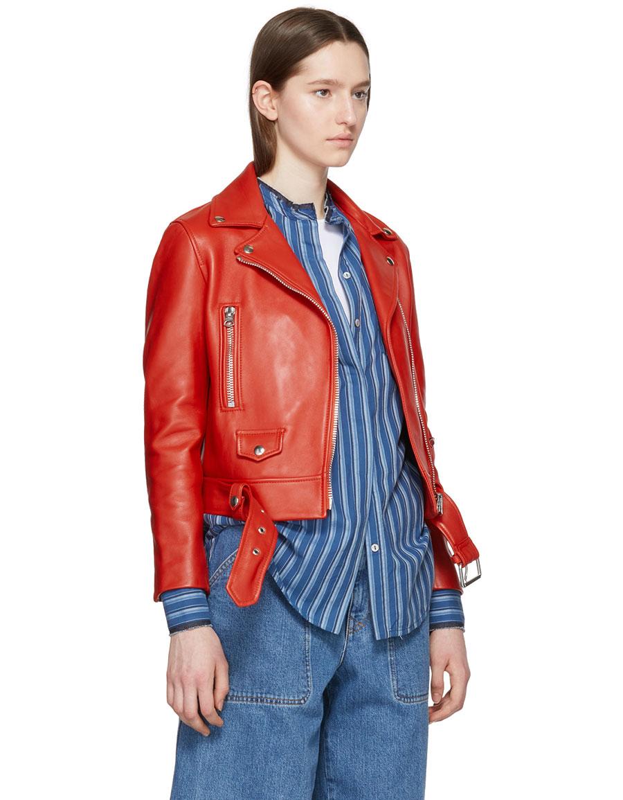 ACNE STUDIOS Red Leather Mock Jacket