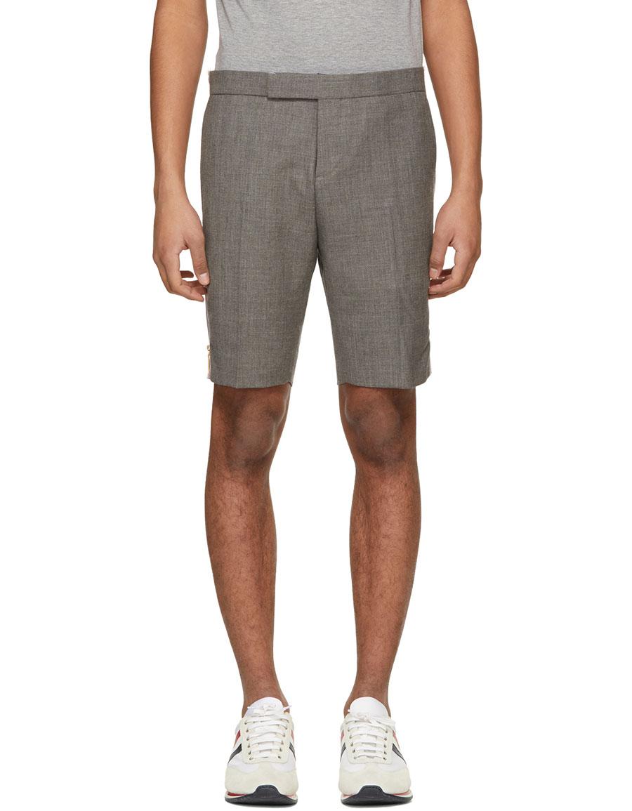 THOM BROWNE Grey Low Rise Skinny Side Tab Shorts