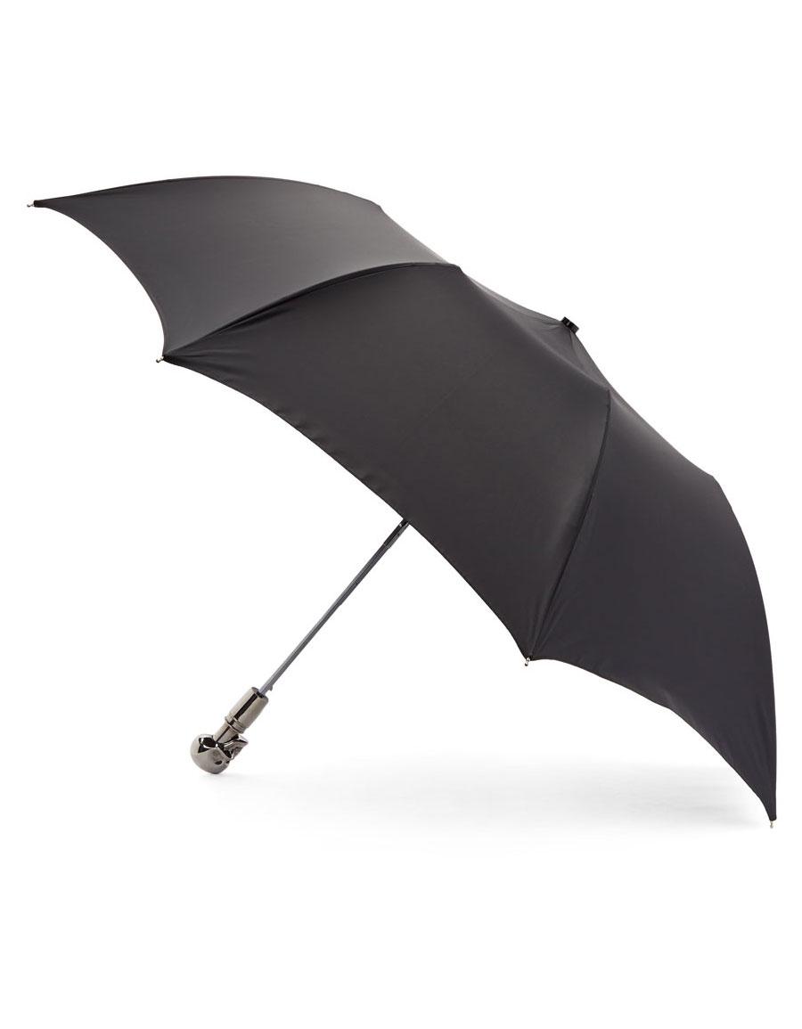 ALEXANDER MCQUEEN Black & Silver Collapsible Skull Umbrella
