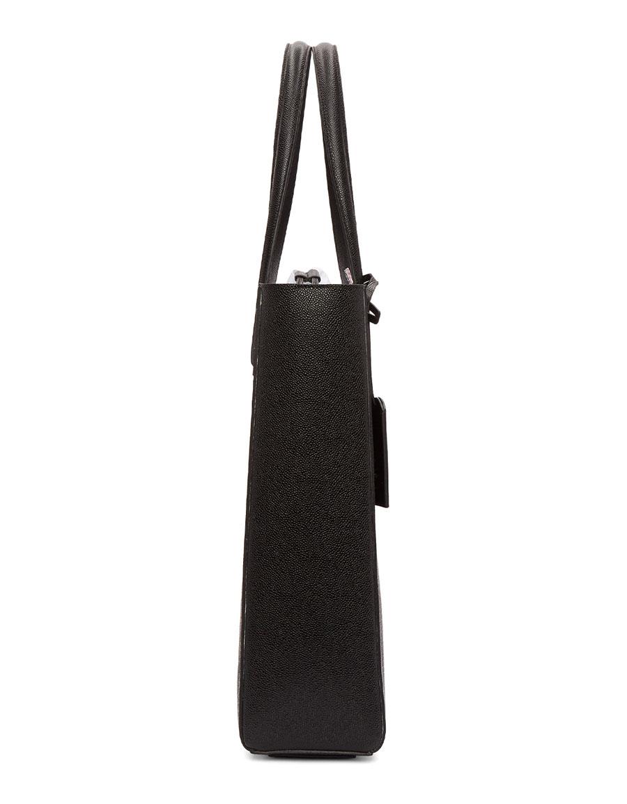 THOM BROWNE Black Perforated Vertical Stripe Drawcord Tote