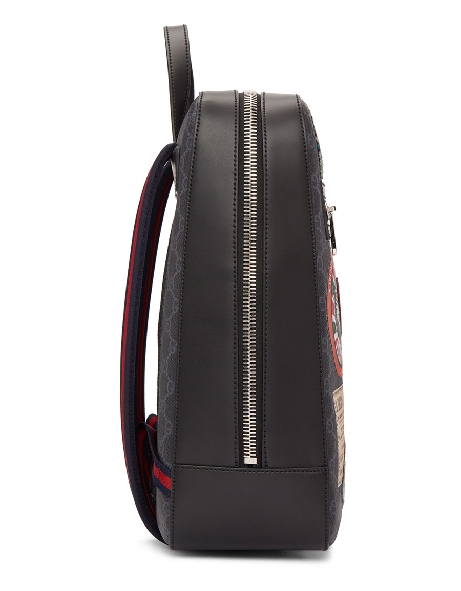 GUCCI Black GG Supreme Patches Backpack