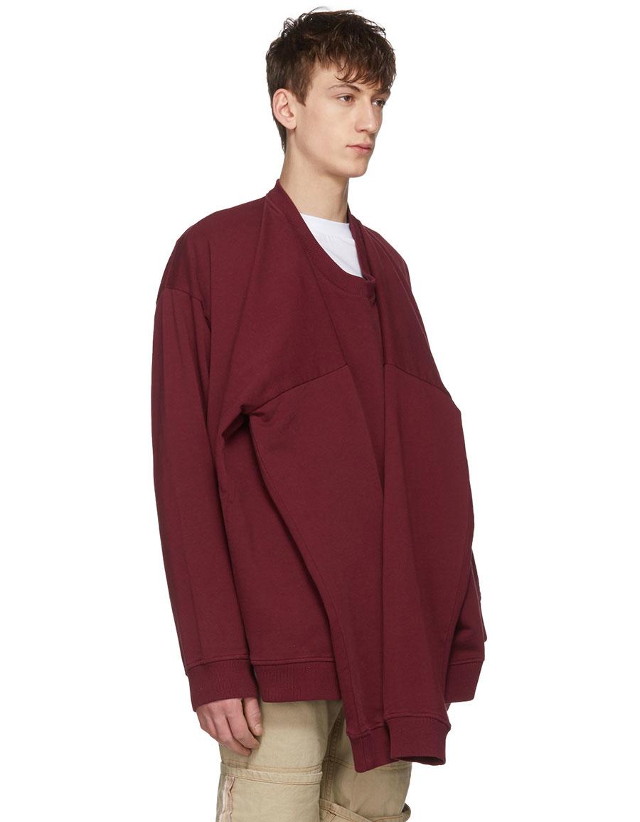 Y/PROJECT Burgundy Four Sleeves Sweatshirt