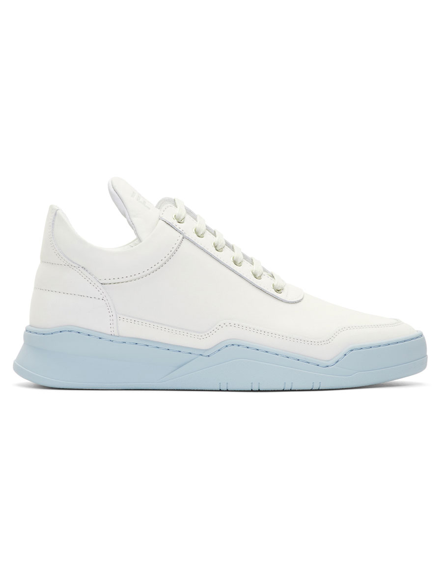 FILLING PIECES White & Blue Low Ghost Sneakers