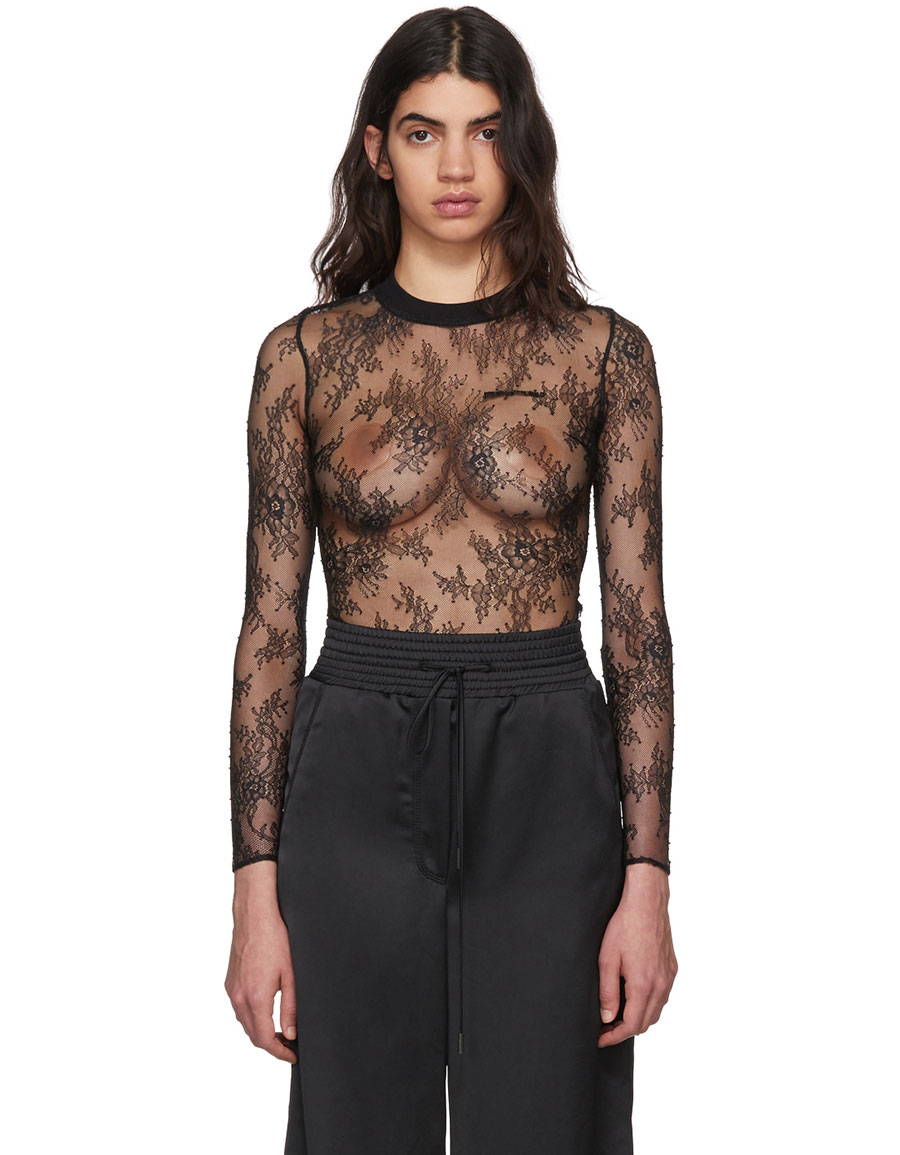 ead7142e7eae OFF-WHITE Black Lace Crewneck Bodysuit · VERGLE