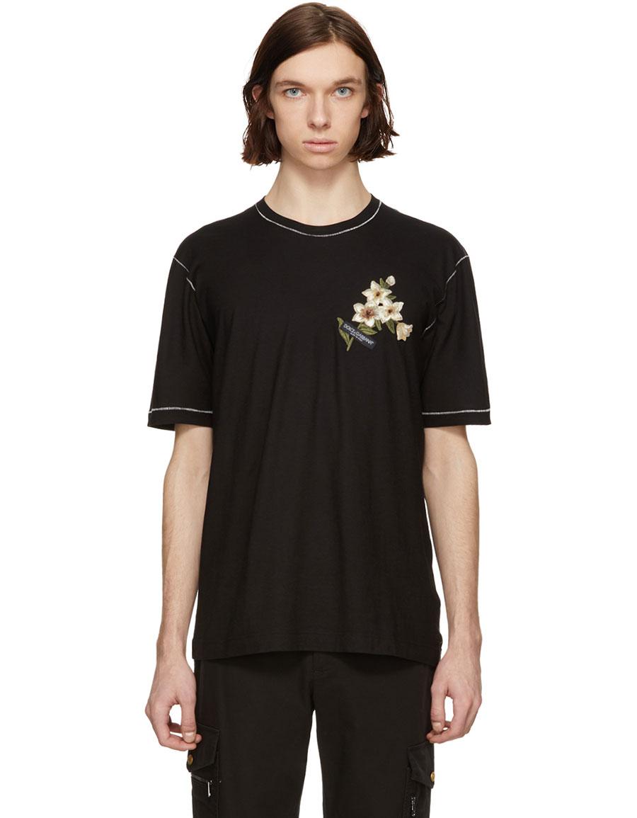DOLCE & GABBANA Black Floral Patch T Shirt