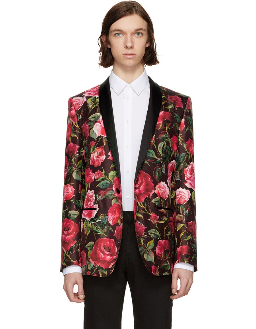 DOLCE & GABBANA Red Silk Rose Single Button Blazer