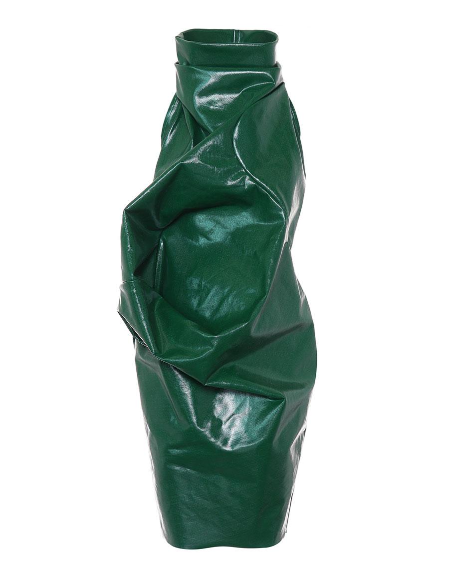 RICK OWENS Ellipse waxed denim dress