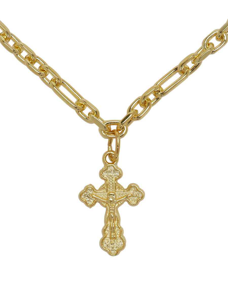 OFF WHITE Gold Cross Necklace