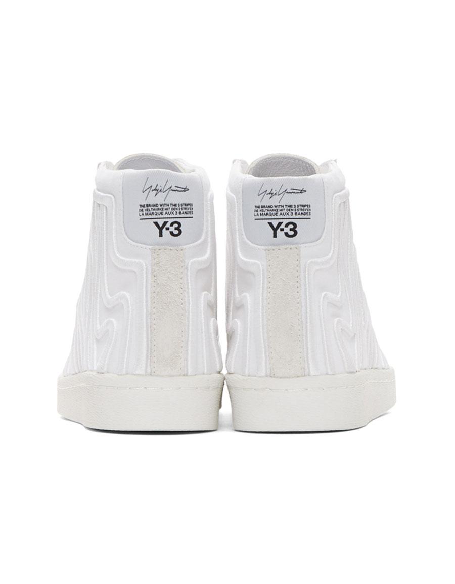Y 3 White Shishu Super High top Sneakers