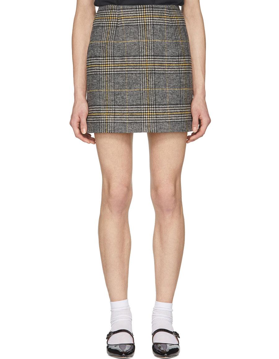 ALEXACHUNG Black & Yellow Check Miniskirt