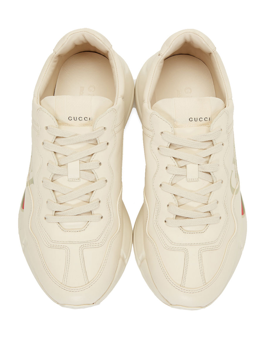GUCCI Off White Vintage Logo Rhyton Sneakers