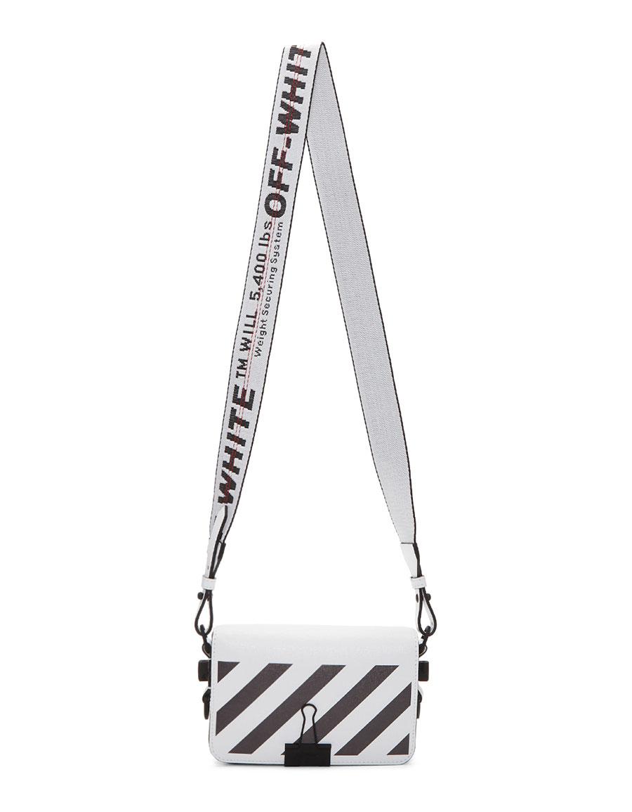 OFF WHITE White Mini Diagonal Binder Clip Bag