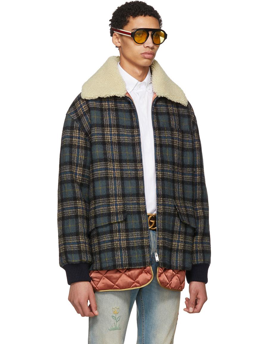 GUCCI Blue Wool Plaid Jacket