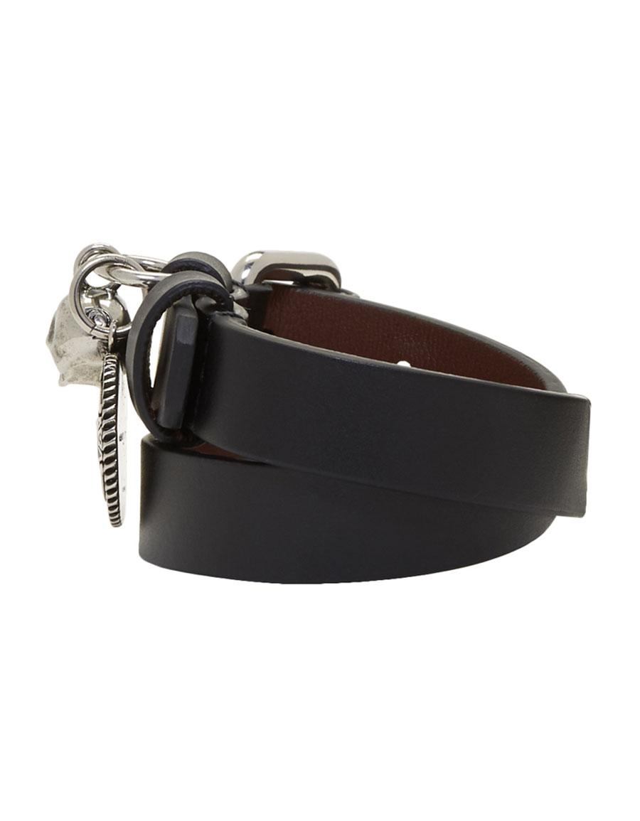 ALEXANDER MCQUEEN Black & Silver Skull Wide Double Wrap Bracelet